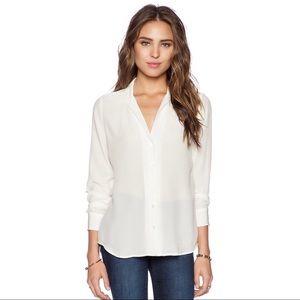 Equipment Silk V Neck Button Up Long Sleeve Blouse